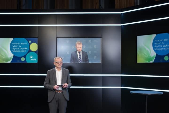 Administrerande direktør Eivind Hansen og helse- og omsorgsminister Bent Høie.